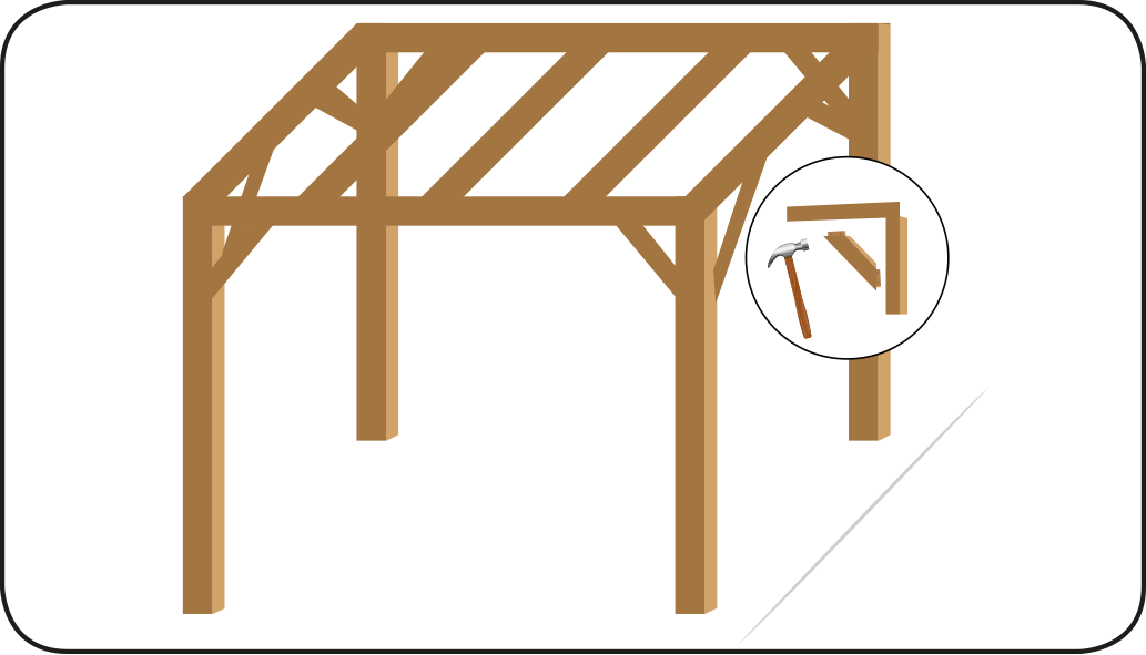Holzstift durchstecken - mach eine Überdachung