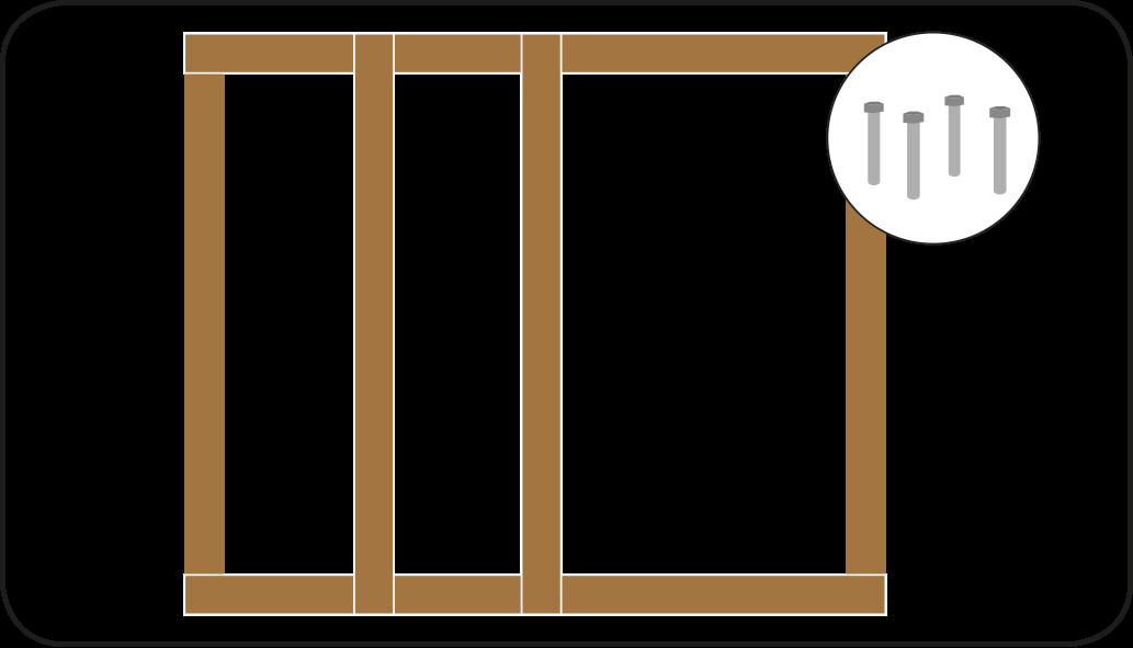 Rahmen für die Wände - mach eine Überdachung